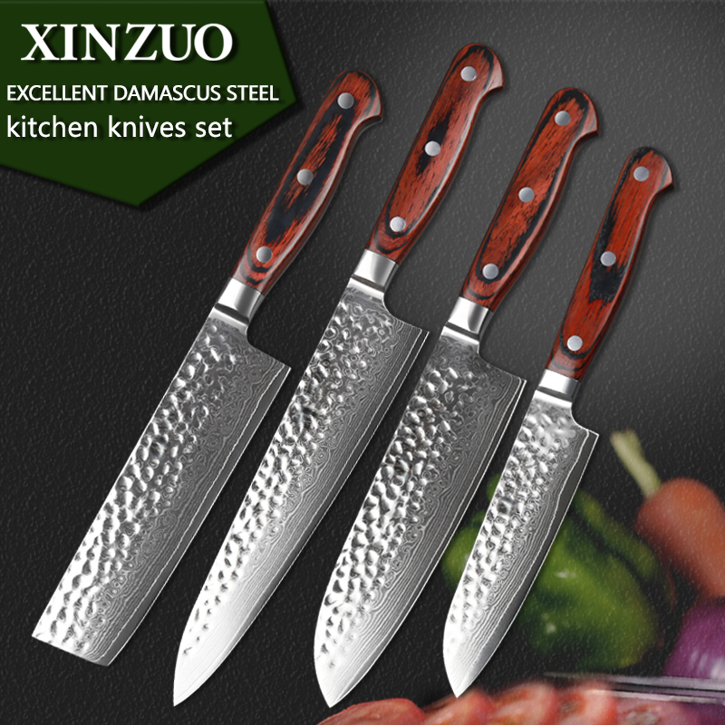 XINZUO 4 pcs kitchen knife set Damascus kitchen knife set cleaver chef utility hammer striae forging