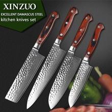 Xinzuo 4 stücke küchenmesser set damaskus küche messerset hackmesser chef utility hammer striae schmieden pakka griff kostenloser versand