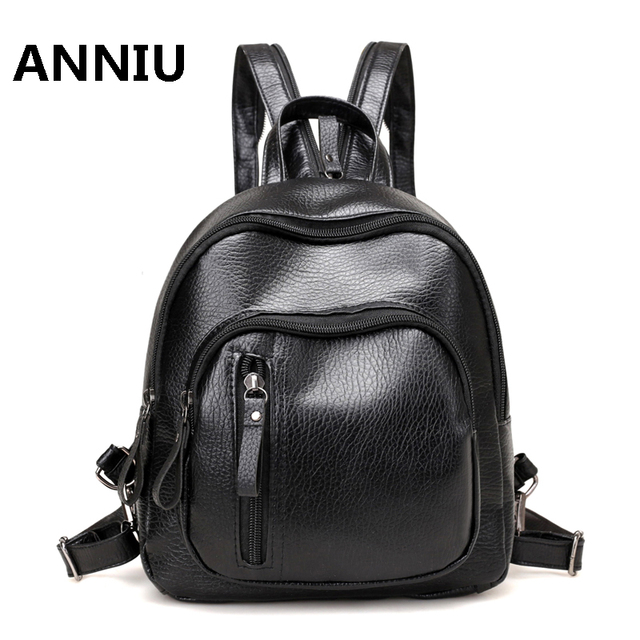 Women Backpack Small Size Black PU Leather Women s Backpacks Fashion School  Girls Bags Female Back Pack Famous Brand mochilas a07227d750231