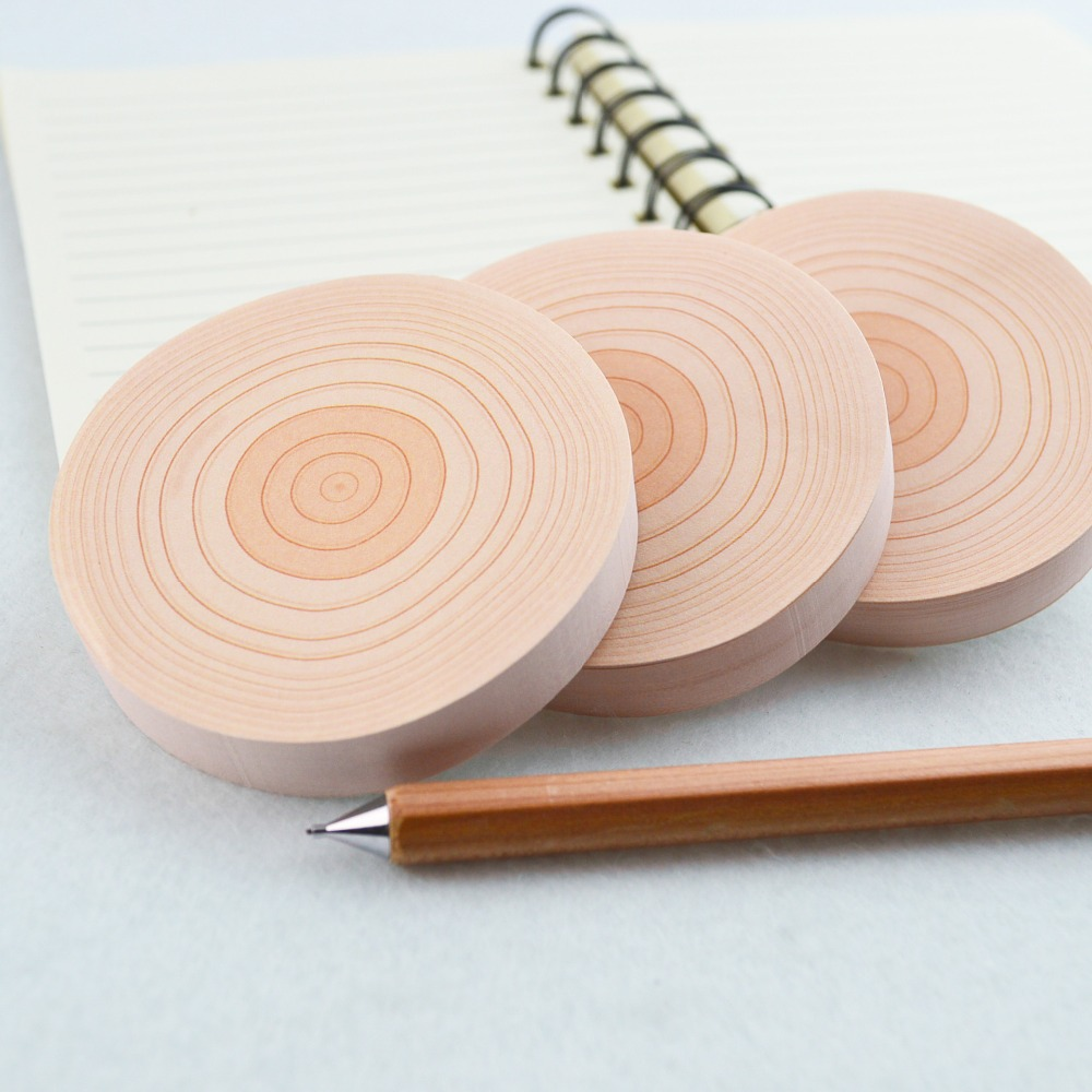 NOVERTY 5 pcs/lot Creative annual ring kawaii paper sticker post it memo pad cute tree stump round notes School Stationery 01874
