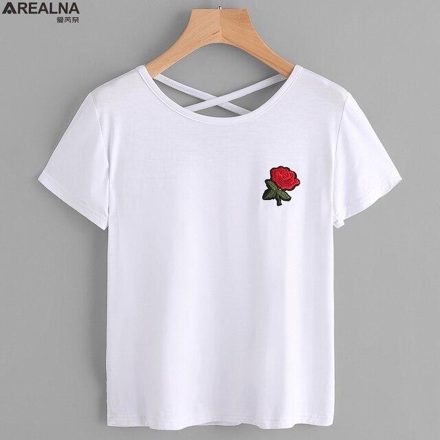5cdc72f6ed AREALNA t shirt mulheres tops 2018 Verão camiseta Rosa Bordado T-shirt  Branco camiseta feminina