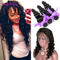 360 Lace Frontal Closure With Bundles Peruvian Loose Wave 3 Bundles With Frontal Closure Loose Wave 360 Frontal With Bundles