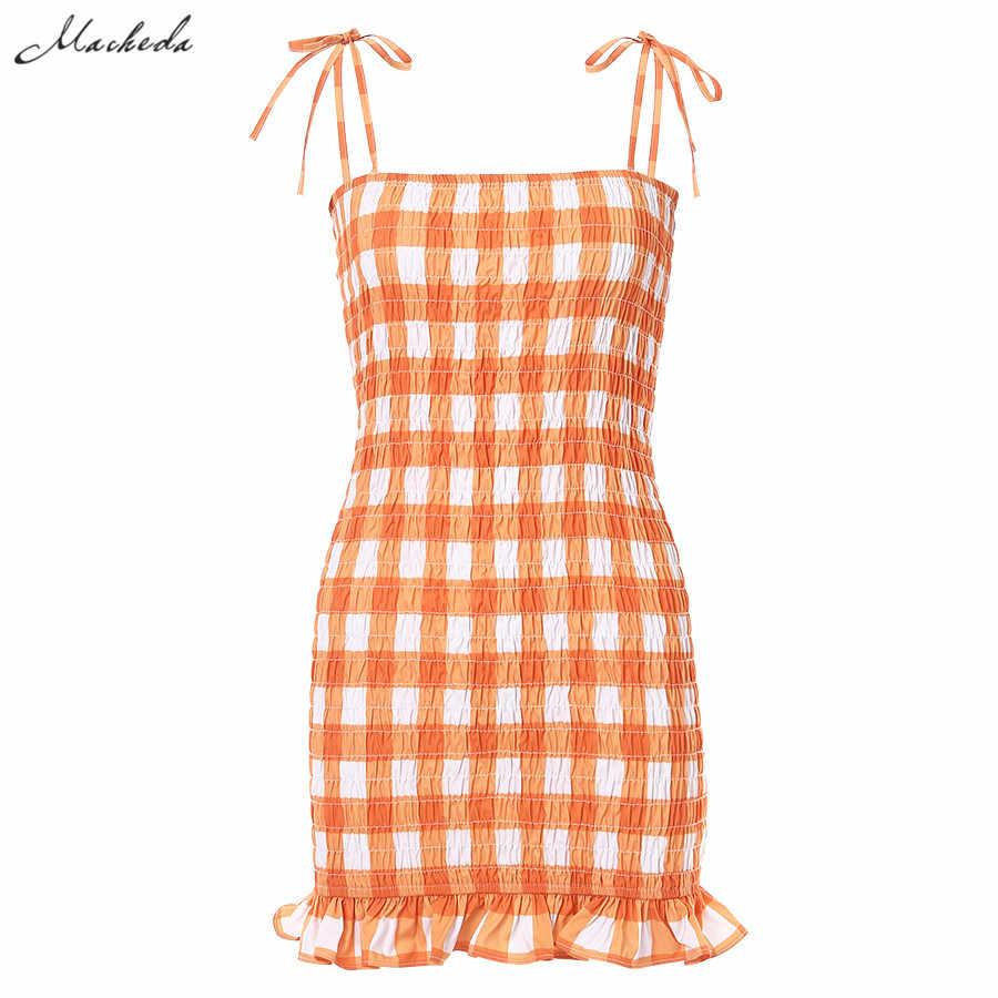 Macheda маленькие свежие оранжевые клетчатые Мини платья женские летние регулируемые бретельки с рюшами платье Повседневная одежда леди 2019