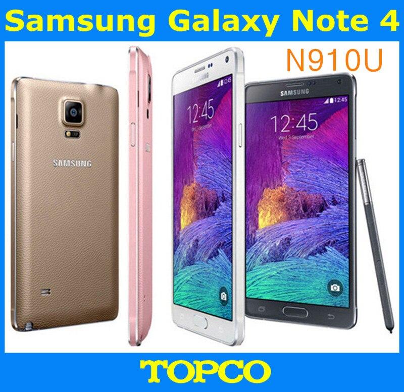 "Цена за Samsung Galaxy Note 4 N910U Оригинальный Разблокирована 3 Г и 4 Г GSM Android Мобильного Телефона Quad core 5.7 ""16MP 32 ГБ WIFI GPS Freeshipping"