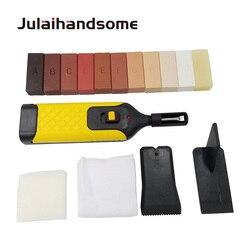 Набор для косметического ремонта ламината: нагреватель и 11 восковых плиток разного цвета