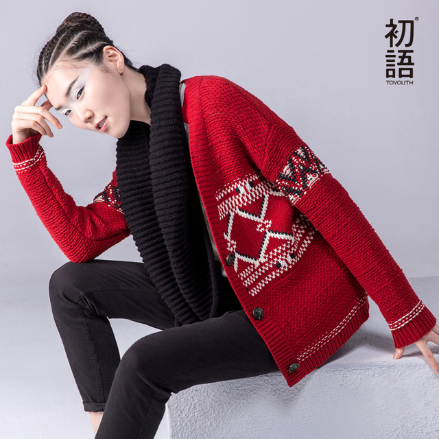 Toyouth 2017 Autumn New Sweaters Women Knitted Color Contrast Geometric Cardigan V-Neck All Match Casual Sweaters Lady Tops