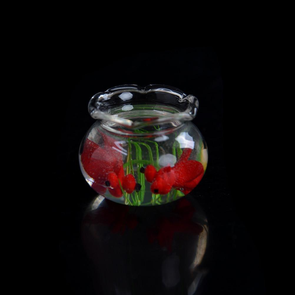 1:12 Miniature Glass Fish Tank Transparent Aquarium Dollhouse Ornaments Decor GX