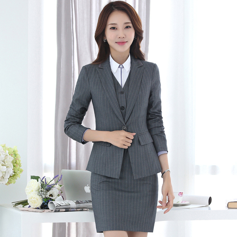 Ladies Business Stripe Suit Set 2019 Autumn Slim Office Long Sleeve Small Suit Jacket Fashion Skirt And Shorts Set