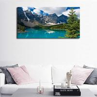 Mountain and Lake Nature Picture Scenery Wall Art Canvas Prints Artwork Painting for Kitchen Office Home Wall Decor Blue Theme