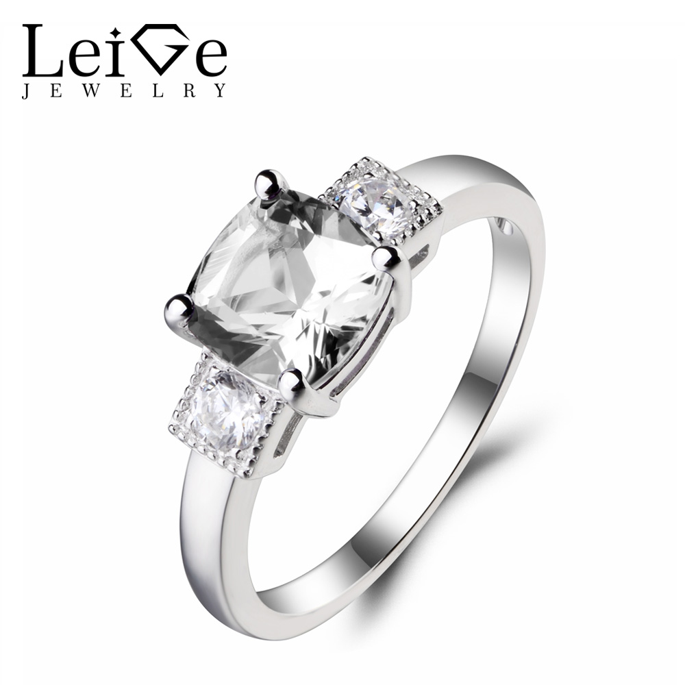 Leige Jewelry Wedding Ring Natural White Topaz Ring Gemstone Solid 925 Sterling Silver Solitaire Ring November Birthstone Gifts