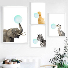 Elephant Duckling Zebra Bubble Nordic Posters And Prints Wall Art Canvas Painting Animals Pictures For Kids Room Home Decor