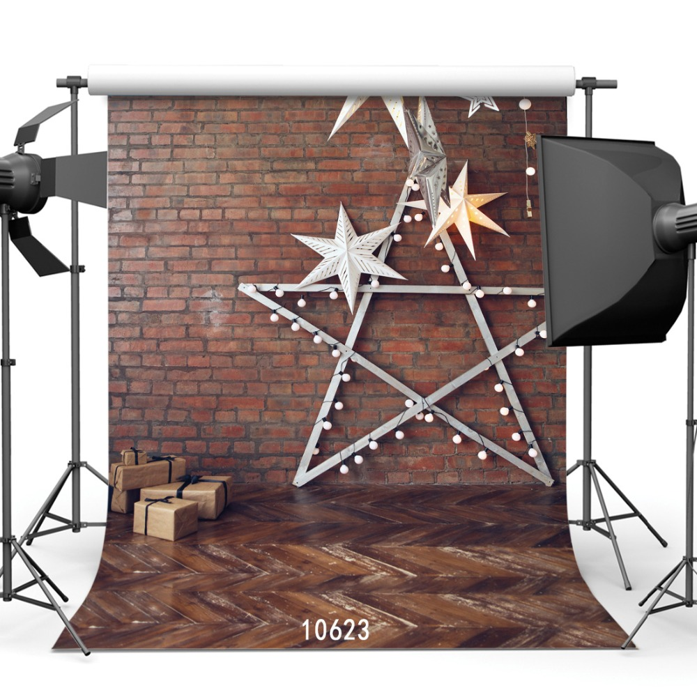 10x10ft  Photography studio  background Fond studio photo vinyl  backdrop brick wall  Christmas Five-pointed star backdrops sjoloon brick wall photo background photography backdrops fond children photo vinyl achtergronden voor photo studio props 8x8ft