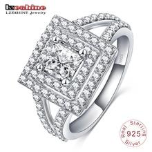 LZESHINE 2016 Latest 100% 925 Sterling Silver Ring  AAA Zircon Unisex Engagement Rings Wholesale Free Shipping SRI0011-B