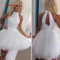White Short Homecoming Dresses Mini Women Plus Size 8th Grade Prom Cocktail Semi Formal Graduation Dress