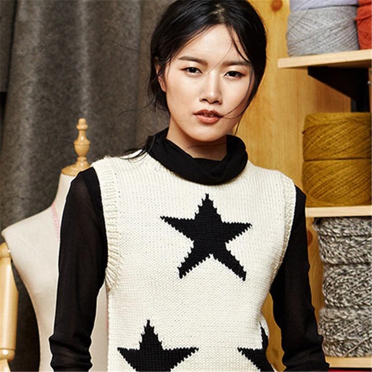100% ручная работа чистая шерсть Oneck вязаный женский модный контрастный цвет звезда свободный H-прямой короткий жилет свитер один и более размер
