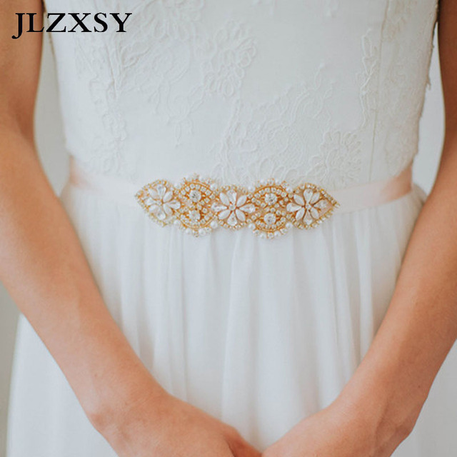 JLZXSY Vintage Flower Style Crystal Rhinestone Wedding Belts Bridal Pearl  Belts Fashion Bridesmaids Bridal Sashes (17 0.8inches) 9372dace509b