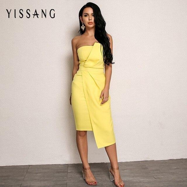 9396253b571b Yissang White Yellow Fashion Dress Women 2018 Summer Off Shoulder Midi  Dresses Asymmetric Sleeveless Sexy Party
