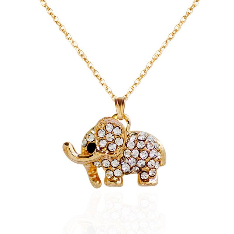 F&U Nové příletové módní Populární zlaté a stříbrné barvy slon přívěsek náhrdelník pro ženy