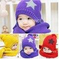 Крышка младенца дети теплую шапку + шарф пятизвездочный два набора малышей мальчики и девочки шляпы зимний подарок, Детские шарф образец вязания