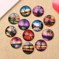 reidgaller Flatback Round Dome Mixed Tree Reflections Photo Glass Cabochon 10mm 12mm 14mm 18mm 20mm 25mm for jewelry crafts