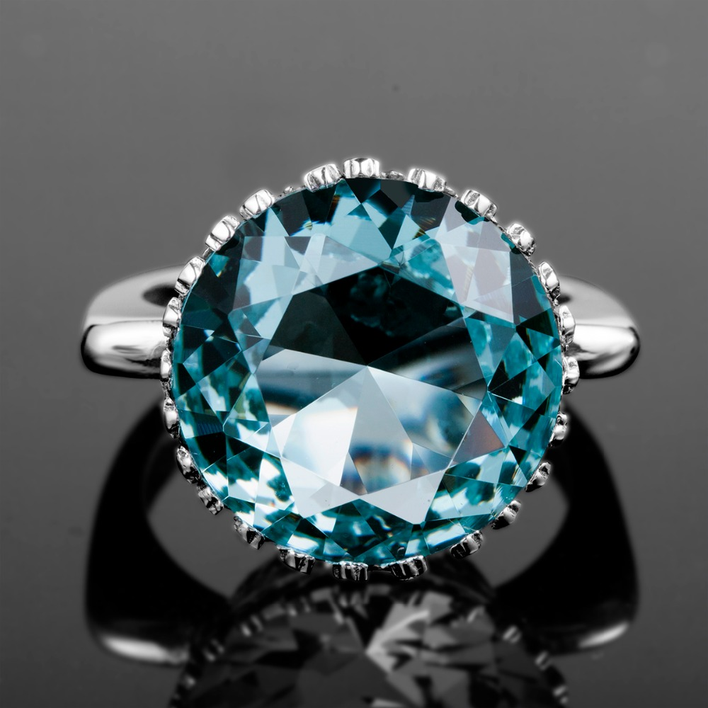 Image 2 - Szjinao Aquamarine Rings Sterling Silver Women Round Anillos  Plata 925 Para Mujer Big Rings Engagement Branded Fine Jewelryring  brandring fashionring for