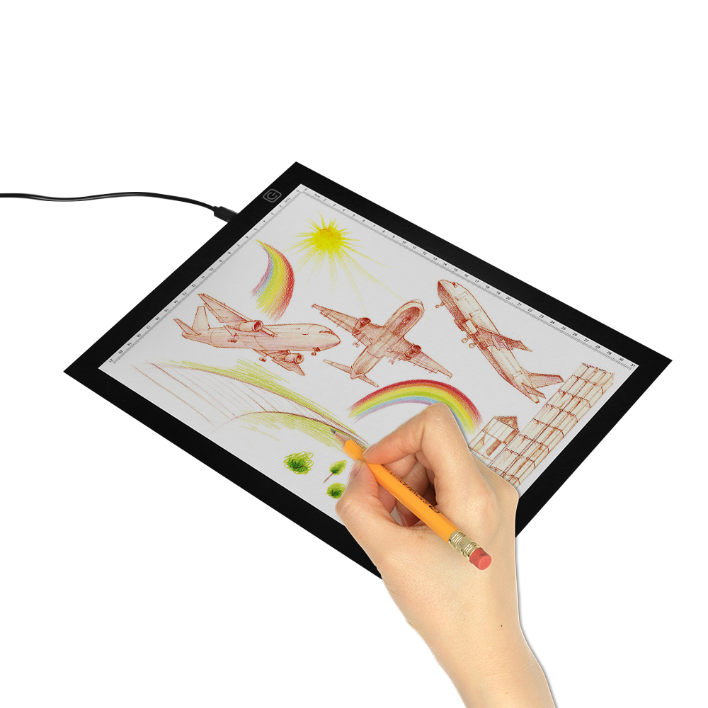<font><b>A4</b></font> Ultra-thin Portable <font><b>LED</b></font> <font><b>Light</b></font> <font><b>Pad</b></font> Tracer with USB Cable <font><b>Dimmable</b></font> Brightness Artcraft Tracing <font><b>Light</b></font> Box Copy Board for Artists image