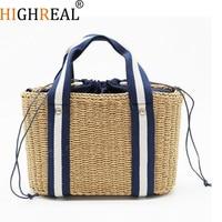 7cf211da8 HIGHREAL Women Natural Handbag Braided 2019 New High Quality Rattan Bag  Beach Straw Bag Crossbody Summer. HIGHREAL Bolsa Das Mulheres ...