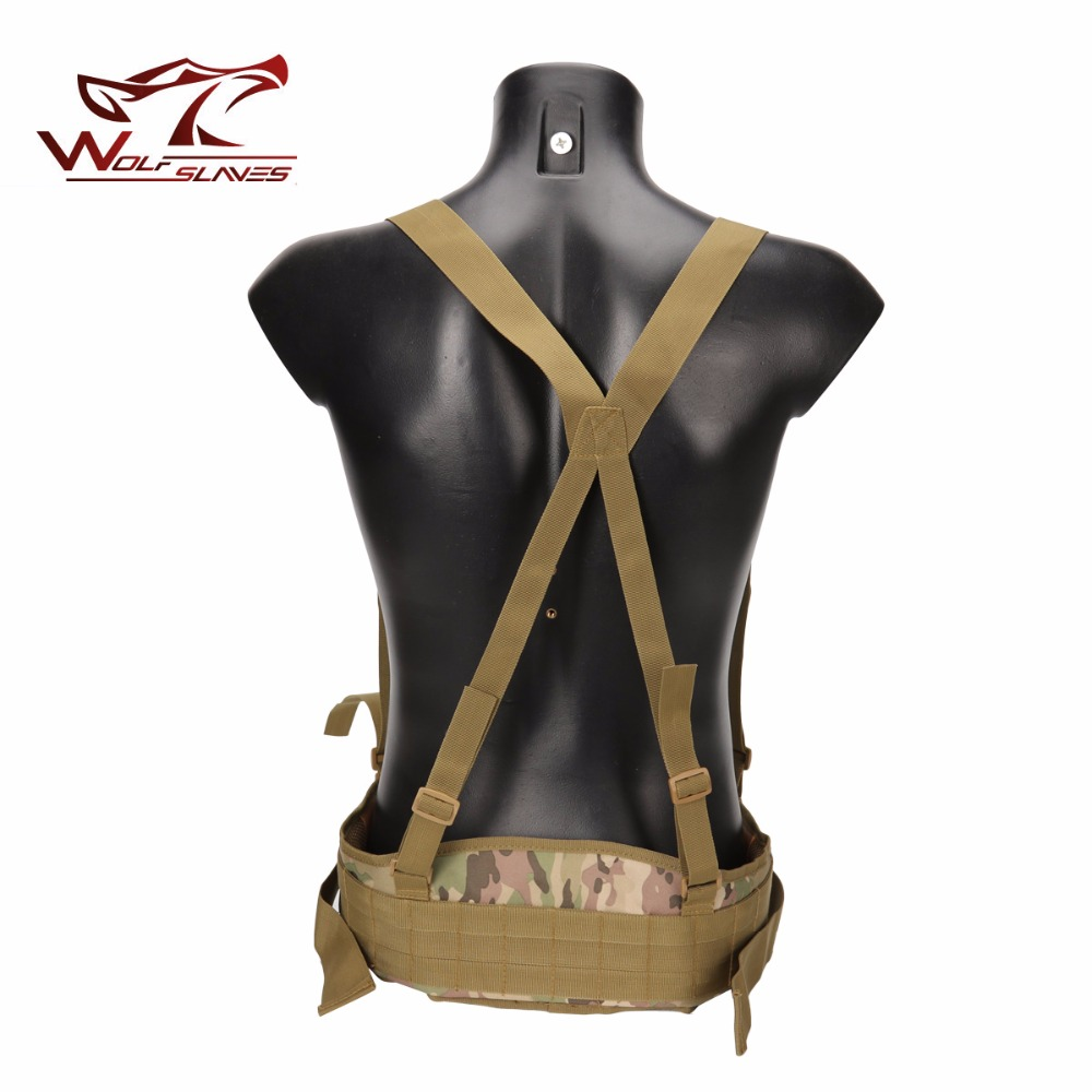 Tactical MOLLE Girdle with Shoulder Sling Military Camouflage Outdoor CS Waist Padded Airsoft Combat Wide Belt Hunting Accessory
