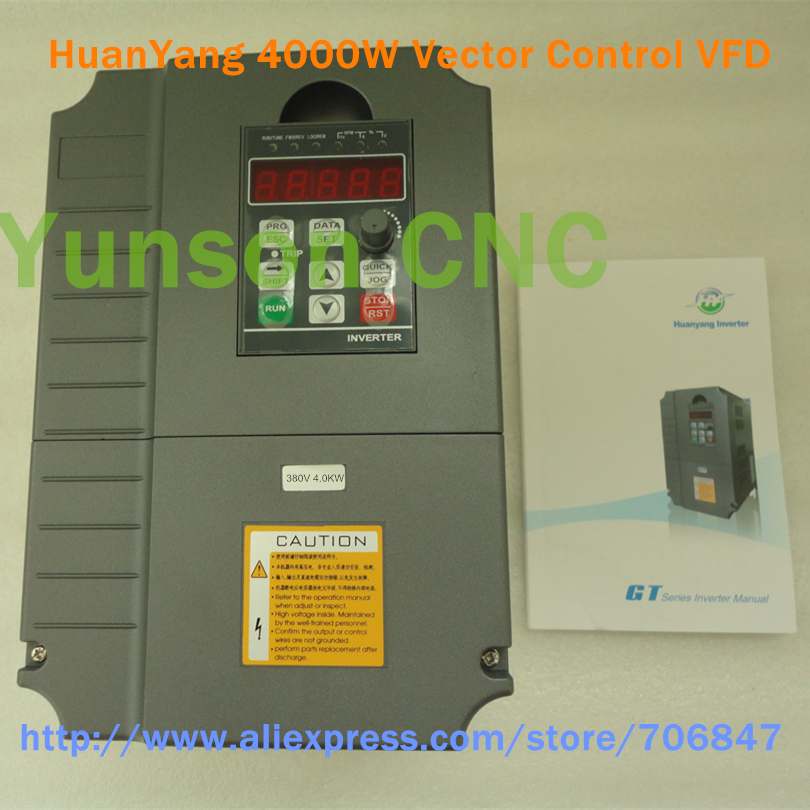 Huanyang 4kw 5hp vector control vfd inverter 4000w 9a for Vfd for 5hp motor