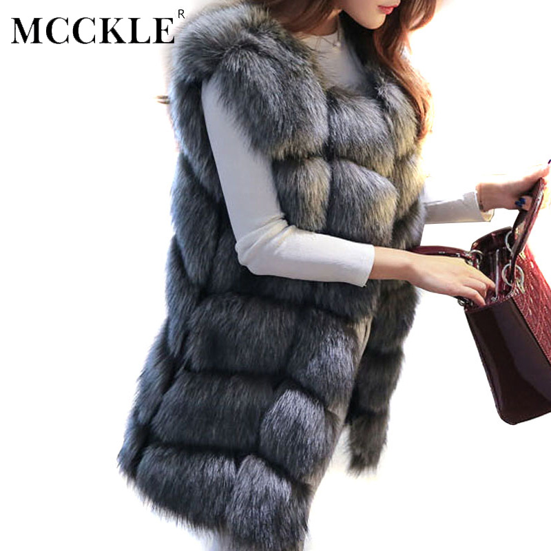 Women's Winter Faux Fur Ermeløs Varm Vest Luksus Plaid Black Waistcoat Women Jacket 2019 Vår Elegant Vester Dropshipping