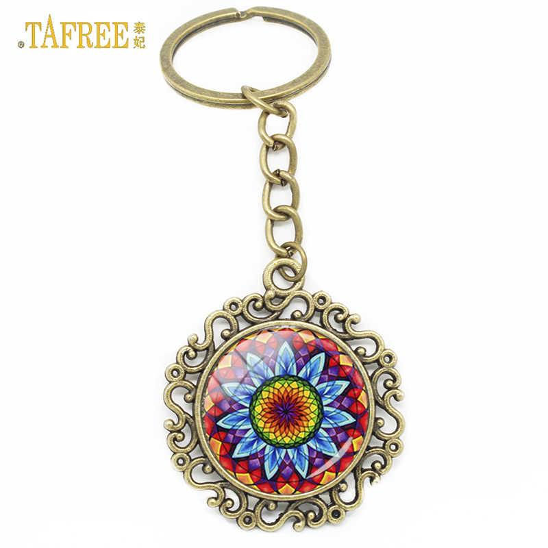 ... TAFREE Fashion Mandala Flower Keychain Om Buddhism Indian Namaste  Buddha OM Yoga Jewelry Keyring Key Chain ... a038a44d8
