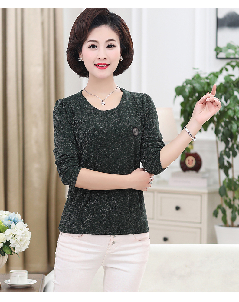 Women Spring Tops Bright Glod Yarn Blouses Red Caramel Green Twinkle Design Shirts Female Casual Long Sleeve O-neck Top For Woman (12)