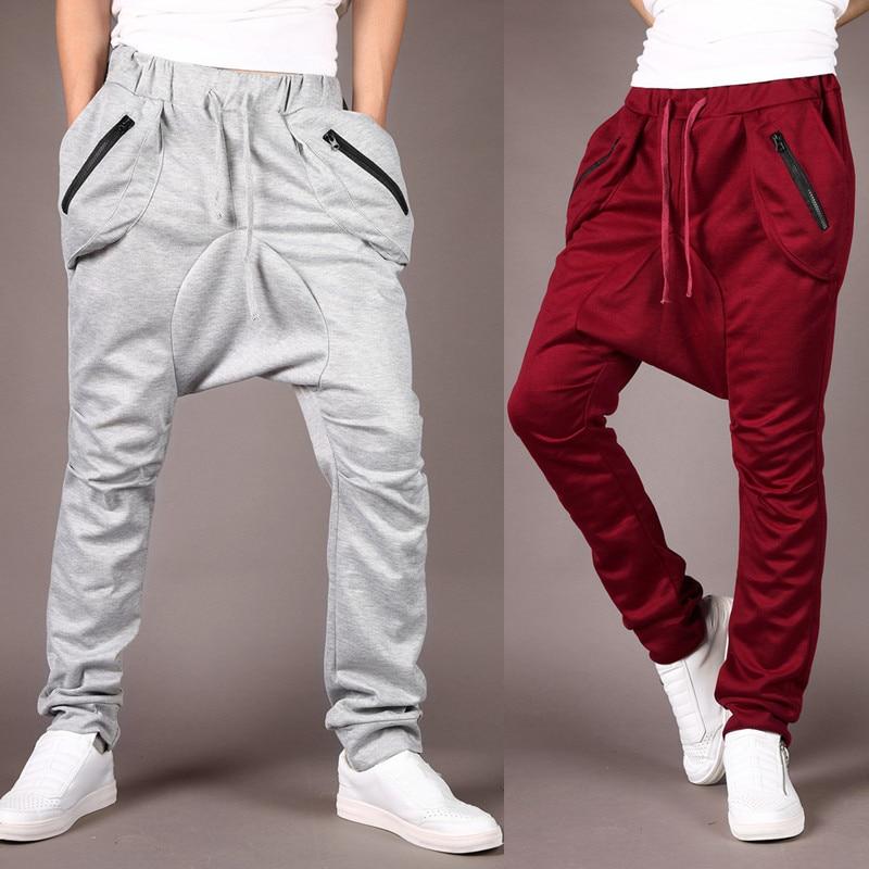 Men's Haren fashion man men cotton hip hop mens trousers summer Pants loose Low Crotch Cross Pants Casual Pants