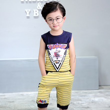 2017 Summer season New model Europe and America Kids's clothes boy T Shirt+shorts Kids Clothes Set 2 Three four 5 6Y pullovers swimsuit