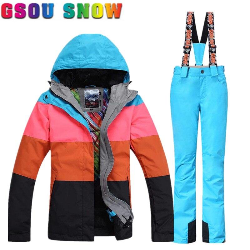 Gsou Nieve Marca Mujeres Traje de Esquí de Esquí de Invierno Pantalones de  la Chaqueta Al Aire Libre Impermeable Chaqueta de Snowboard Pantalones de  Esquí ... fa33d9eacdd