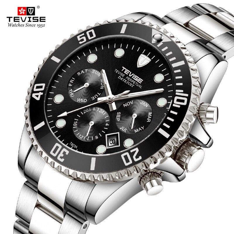 2018 Nouveau Tevise Marque Hommes Mécanique Montres Automatique Montre Rôle Date Fashione de luxe Sous-Marinier Horloge Mâle Relogio Masculino