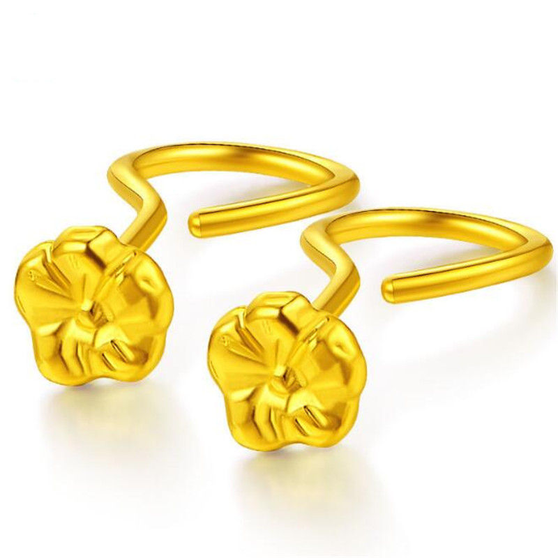 2018 100% 18K Gold Lovely Fashion Jewelry Cute Cherry Blossoms Flower Stud Earrings for Women Several Peach Flower Blossoms Earr super dry peach natural flower bud beauty peach tea menstruation blooming tea flower
