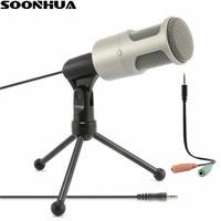 SOONHUA 3,5mm Audio Verdrahtete Kondensator Tonaufnahme Mikrofon Mit Shock Mount Stativ Für PC Chatten Gesang Karaoke Laptop