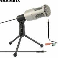 Soonhua 3.5 мм аудио проводной Конденсатор звук Запись микрофон с подвесом Штатив для ПК пения караоке ноутбука