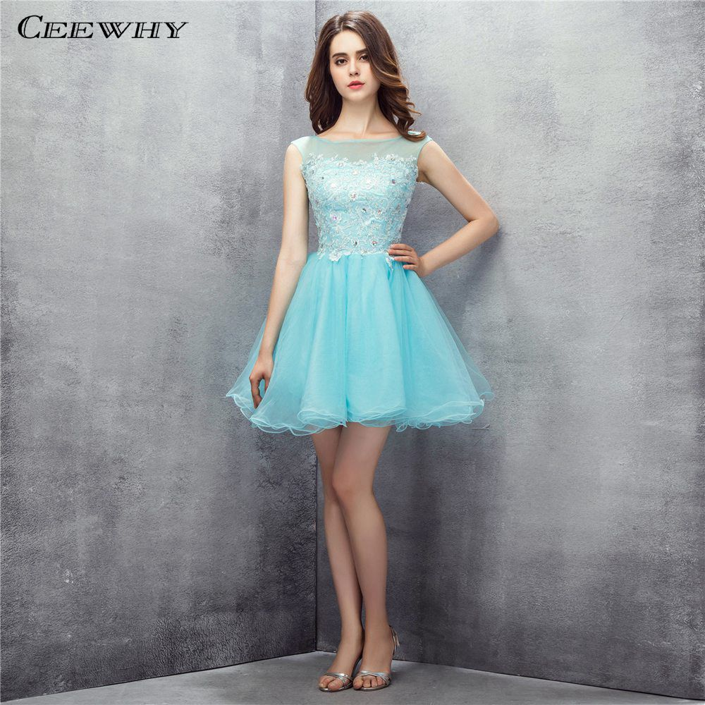 CEEWHY Short Special Occasion   Dress   for Women A Line Appliques Prom   Dress   Beaded Short   Cocktail     Dresses   Homecoming   Dresses