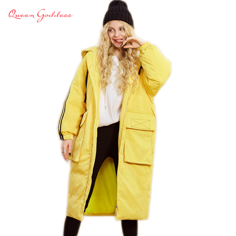 Autumn and Winter women long duck down warm jacket Yellow and white color with hat plus