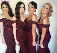 Hot New Arrival Red Burgundy Mermaid Bridesmaid Dresses 2018 Với Appliques Ren Cap Sleeves Rượu Vang Đỏ Cô Dâu Váy Maid