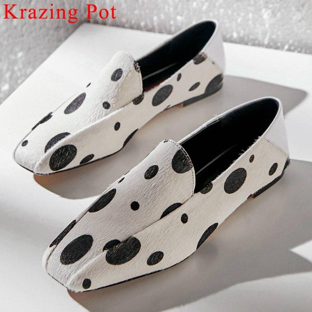 Krazing Pot luksusowe horsehiar materiał wkładane mokasyny kwadratowy toe duży rozmiar baletki randki wiosna klubowa codzienne buty L05 w Damskie buty typu flats od Buty na  Grupa 1