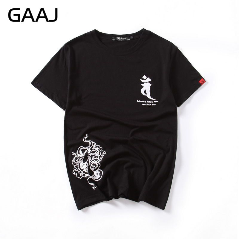Tops & Tees Just Gaaj Casual O Neck Men T Shirts Printed T-shirt Chinese Japanese Style T-shirts For Man Clothes Homme Streetwear Tops Tees T-shirts