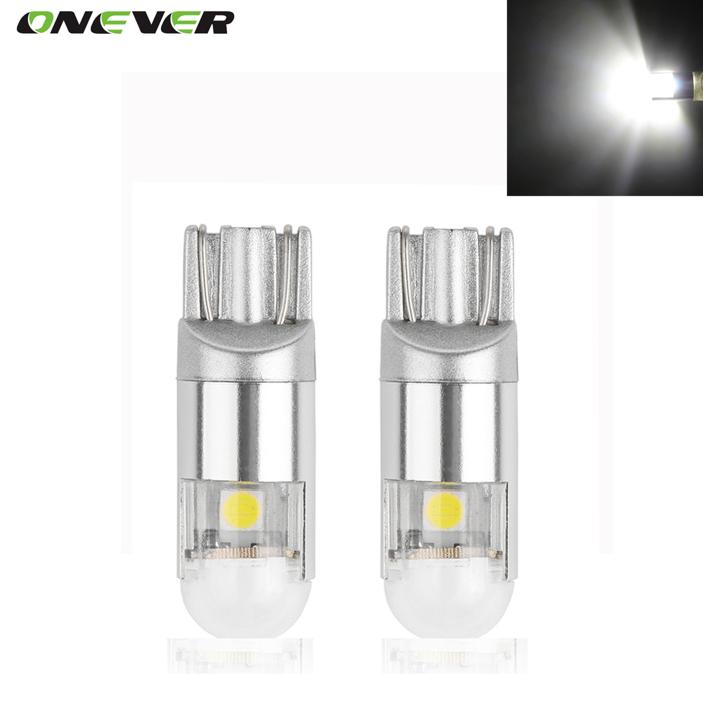 Onever 2pcs Car T10 W5W 168 194 2W 2-LED Width Light Reading Lights License  Plate Lamp Side Marker Bulbs Cool White