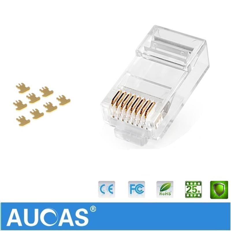 Image 2 - Aucas 5pcs/10pcs rj45 cat6 plug 8P8C computer network cable connector modular plug cat 3 piece suit Network RJ 45 Connector Cat6-in Computer Cables & Connectors from Computer & Office