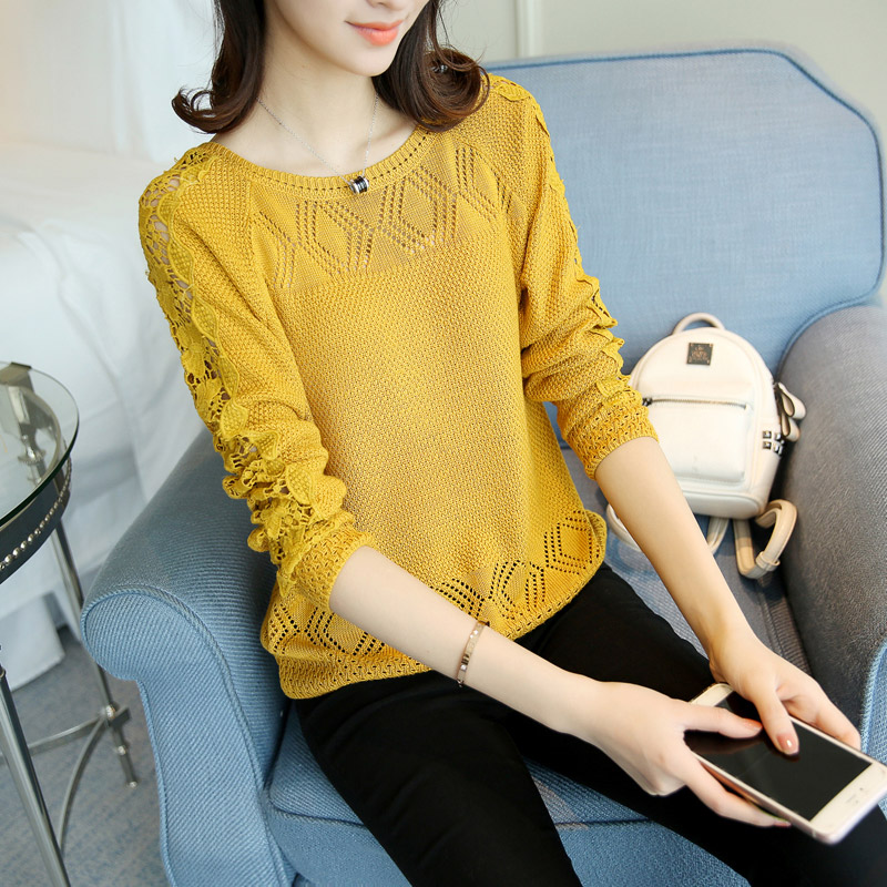 Spring and Autumn 2009 hollow knitted sweater ladies bottom shirt loose long sleeve Pullover thin sweater fishnet blouse ladies