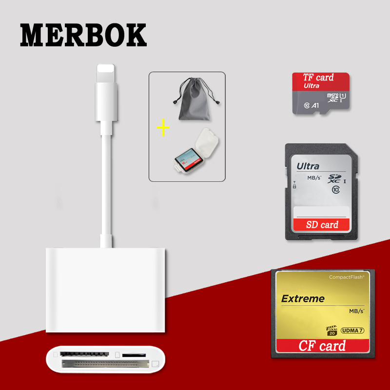 Multi-function Three-in-one Lightning interfaces Smart card reader CF SD TF Card reader for iPad iPhone 7 plus 6s 5s цена 2017