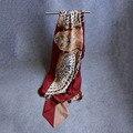 Tamaño grande 130X130 cm pañuelo de Alta Calidad Primavera Señoras de La Manera bufandas del Mantón de la Bufanda de Seda de Las Mujeres Nuevo Estilo búho envuelve