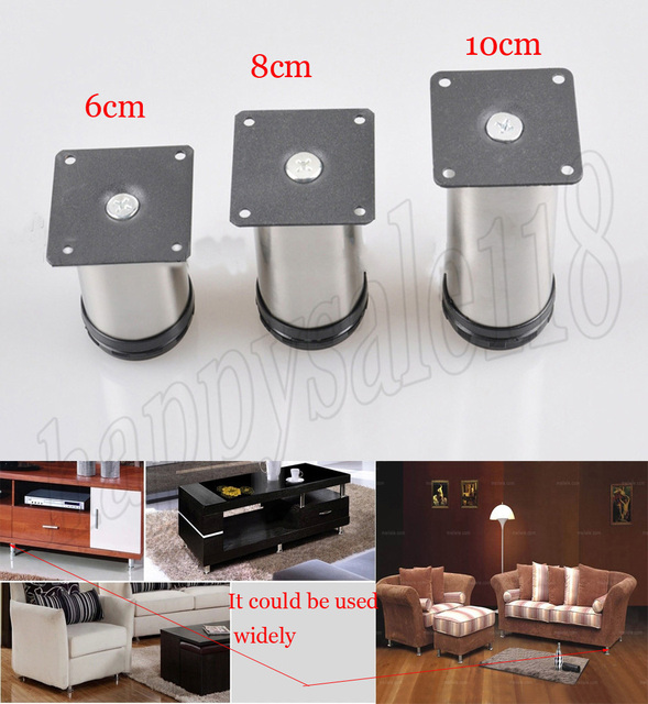 4 Pcs 6 Cm Logam Stainless Steel Kabinet Furniture Berdiri Leg Height Adjule Kursi Sofa